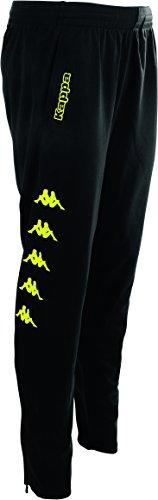 Kappa Paginos Pants, Unisex, Negro/Amarillo Fluor