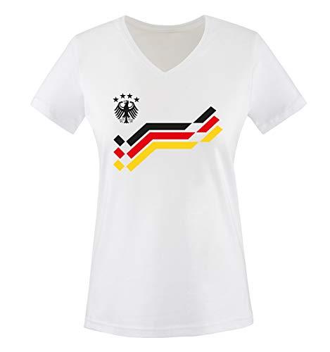 Comedy Shirts - EM 2016 - Deutschland - Retro - Trikot - Damen V-Neck T-Shirt - Weiss/Schwarz Gr. XXL