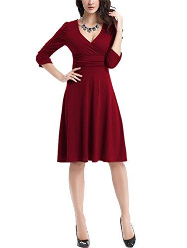 Brinny Damen Ausgestellter Schnitt Kleid Jersey Shirtkleid 1/2 Ärmel Retro Vintage Slim Fit Schwingen plissierten Kleid Brautjungfer Cocktailkleid Abendkleid 12 Farben Größe: S-3XL Wein Rot