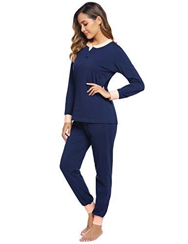 Hawiton Damen Schlafanzug Pyjama lang Nachtwäsche Set Sleepwear Loungewear aus Baumwolle