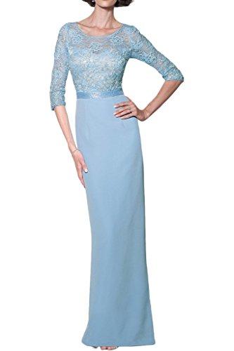 Missdressy Damen Satin Lang Spitze Satin Rundkragen 3/4 Arm Abendkleider Partykleider Ballkleider Hochzeitsgast Kleider Blau