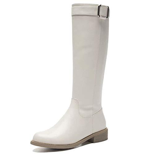 Frauen Echtes Leder Hohe Stiefel Block Low Flache Ferse Reitstiefel Overknee Zipper Outdoor Ski Stretch Stiefel,White-37