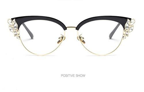 WSKPE Sonnenbrille,Die Hälfte Frame Crystal Diamond Clear Sonnenbrillen Mode Cat Eye Sonnenbrille Frauen Uv400 Schwarzen Rahmen Klare Linse