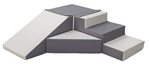 *Velinda 4 Großbausteine Schaumstoffbausteine Spielbausteine Bauklötze Rutsche-Set (Farbe: weiß,grau)*