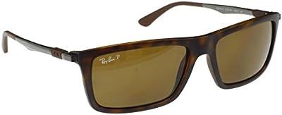 Ray-Ban Polarized Matt Havana Gafas de sol, con lentes polarizadas marrones de 59 mm, ajuste mediano/grande