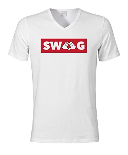 SWAG Red Framed Slogan Men' s T-Shirt con scollo a