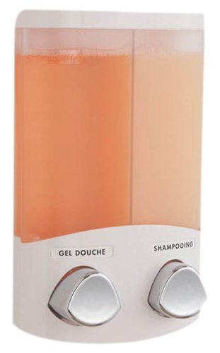 Rangement & Cie RAN6015 Duo-Dispensador de jabón (plástico ABS, 310 ml), Color Blanco, Plastic & PS Clear Frosted, Applicable