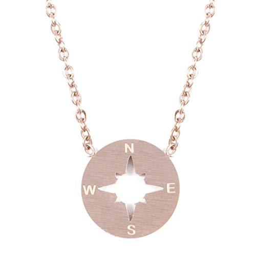 Happiness Boutique Damas Collar de Brújula en Oro Rosa | Collar Delicado con Colgante de Brújula Joyería de Acero Inoxidable Minimalista