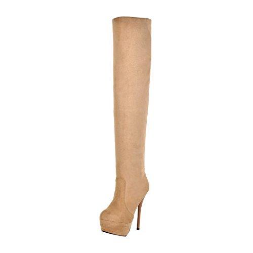 iefel Stretch Plateau High Heels Boots mit Stiletto und Fell Elegante Warm Schuhe (Klassische Halloween-kostüme 2017)