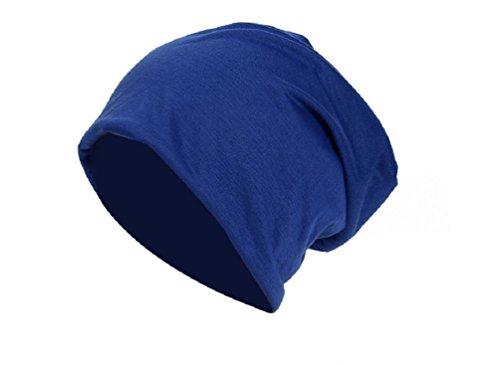 Jersey Baumwolle Long Beanie Slouch Unisex in versch. Farben, leicht und weich, Longbeanie (Blau) (Mütze Blaue)