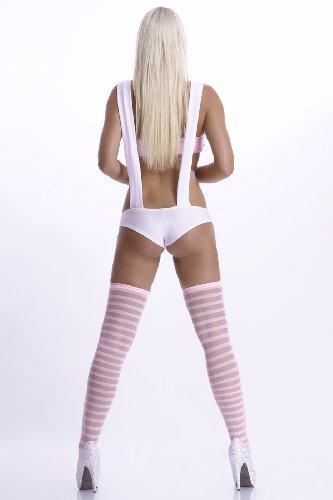 Hosenträger Short Outfit mit Hotpants mit Hotpants Weiss Babypink