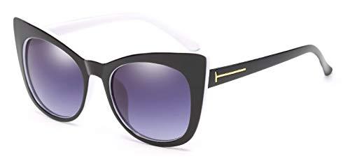 Muxplunt - Sonnenbrille Frauen Big Cat Eye Rahmen Luxuxmarken Sonnenbrillen Sunnies Shades 7 Farben Classic Retro Lady Sunglass Oculos [Innerhalb White]