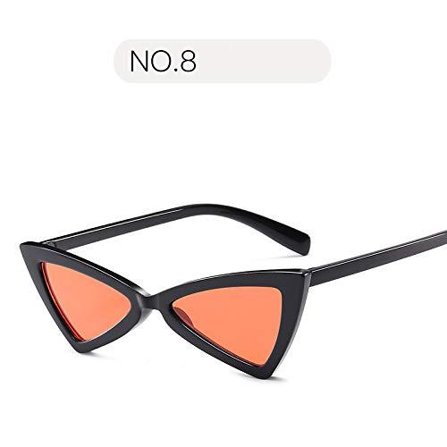YUHANGH Vintage Frauen Sonnenbrille Dreieck Schwarz Damen Sonnenbrille Retro Rote Farbe Eyewear Gradient Lens Cat Eye Sonnenbrille - Versace Red Lens