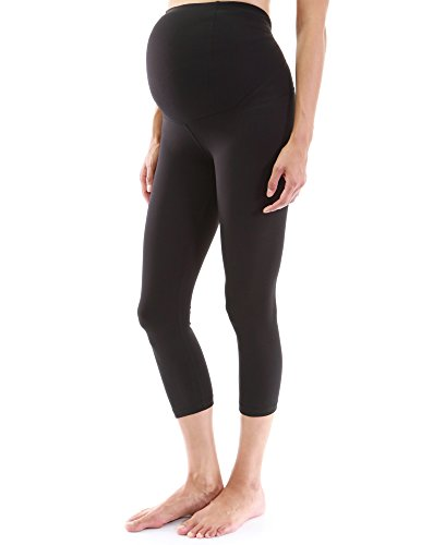 PattyBoutik Mama Formgebung Serie Mutterschaft Ernte legging Yoga Hose (schwarz 40/M) (Leggings Mutterschaft Capri)