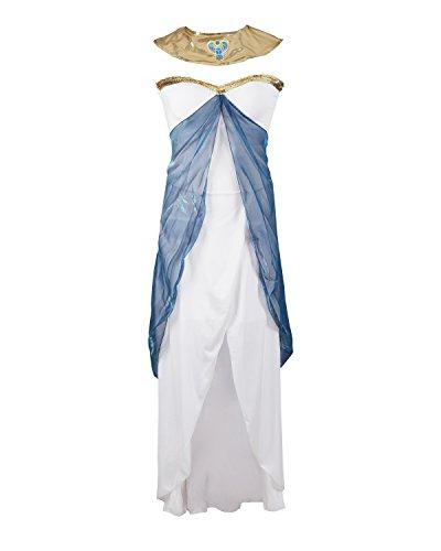 Costume de Cléopâtre par Emma's Wardrobe – Inclut : robe blanche sans manches, ceinture, tour de cou et coiffe – Déguisement déesse grecque ou Égyptienne pour halloween – Excellente qualité – Tailles 36-42