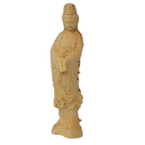Handwerk Holz Ornamente Auto nach Hause Sammlungen Guanyin Buddha-Statue boxwood Schnitzen , diameter 58mm high 170mm ()