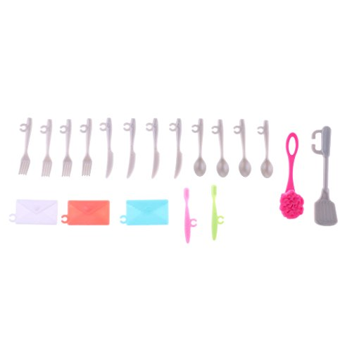 Sharplace 19Pcs Mini Plastic Cutlery Forks Spoons Plates Brushes Spatula Tableware Cookware Set For Barbie Dolls Kitchen Accessories