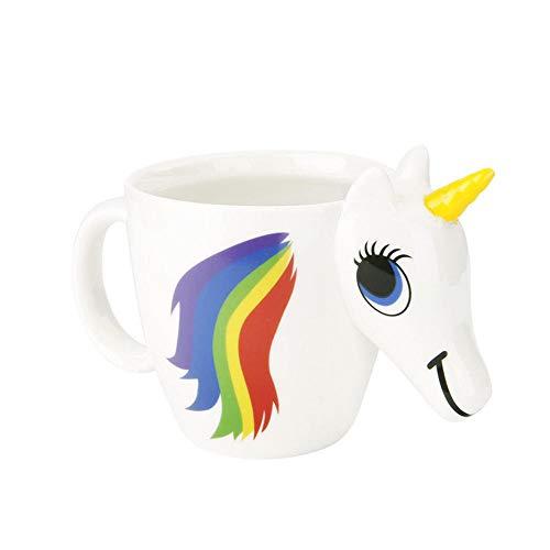 CHLIGHT-Copa Unicornio Que Cambia de Color Taza de cerámica Taza Creativa Taza de Agua en Forma de Regalo Taza de café de Dibujos Animados Taza mágica, Blanco