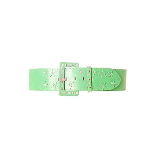 Miss Wear Line - Ceinture verte avec grosse boucle à clou, strass et étoiles
