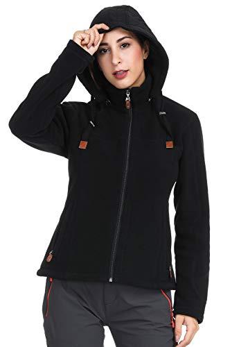MIER Damen Heavy Fleece Jacke Full Zip Soft Micro Fleece Oberbekleidung mit Abnehmbarer Kapuze, ohne Fusseln, Damen, Black - Double Layered Hood, X-Small Black Double-zip