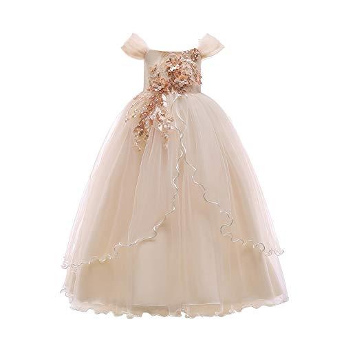 Xinvivion Mädchen Prinzessin Kleider - Mädel Aus-Schulter Stickerei Kleid Brautjungfer Hochzeit Festzug Prom Ball Kleidung Bekleidung Prom-ball