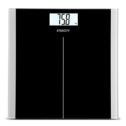 ETEKCITY EB9380H Báscula de Baño Digital de Alta Medición Precisa 5kg-180kg, Balanza Digital Baño con Diseño Extraplano, Báscula Electrónica con LCD Retroiluminación, Negro
