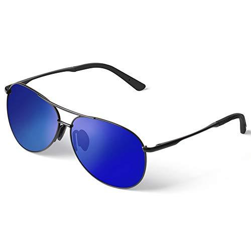 Polarisierte Sonnenbrille für Herren Damen retro Polarisiert Fahrradbrille Aviator Stil Pilotenbrille klassische Fliegerbrille mit Federscharnier UV 400 Schutz Al-Mg Metallrahme Ultra leicht (Blau)