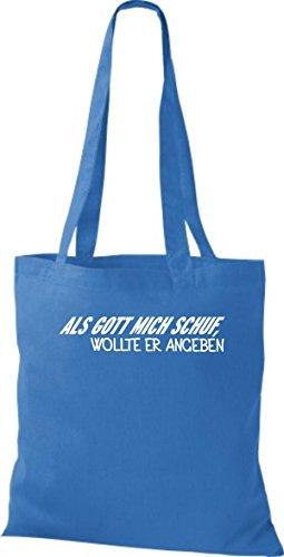 Shirtstown pochette avec inscription humoristique avec inscription als gott mich crée de vouloir indiquer plusieurs couleurs Bleu - Bleu roi