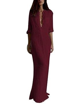 Sannysis Damen Leger Langarm-V-Ausschnitt Boho lang Maxi Kleid