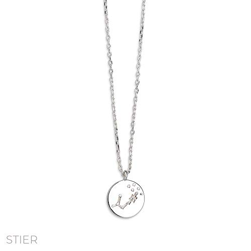 Xenox Damen-Halskette Sernzeichen Rising Sign 925er Sterlingsilber mit Zirkonia 45 cm (Stier)