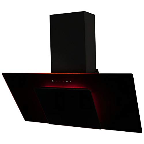 SIA 90cm 3 Colour LED Edge Lit Touch Control Angled Black Glass Cooker Hood