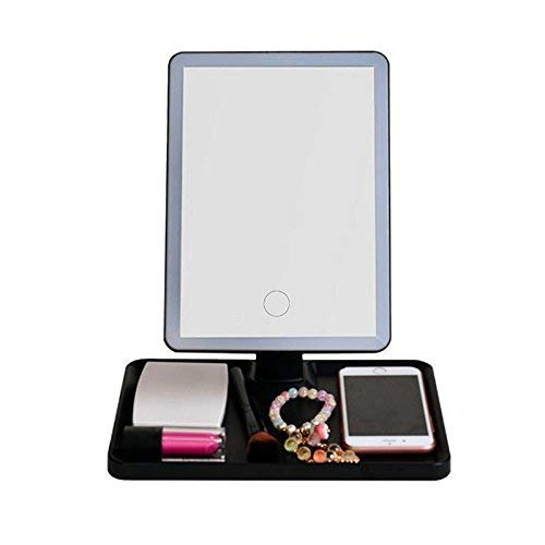 JingZiYY LED Makeup Schminkspiegel mit Vorratsbehälter Tischleuchte Touch Control dimmbar mit...