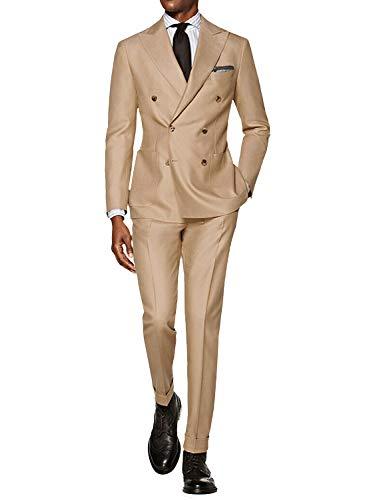 FRANK Herren Anzug 2 Stück Slim Fit Anzug Jacke Hose Mantel Business Blazer Bräutigam Smoking