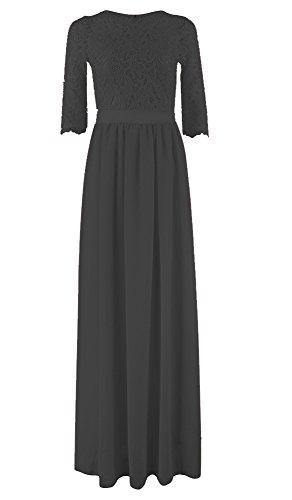 Maxikleid Sommerkleid Strandkleid Damen Elegant Rundhals 3/4 Ärmel Mit Spitze Patchwork Einfarbig Herbst Schwarz
