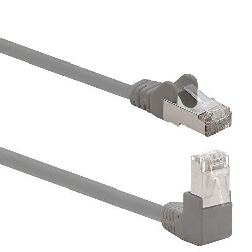 1aTTack.de 366195 Cat.6 Netzwerkkabel Winkel 90 Grad 3m - grau - 1 Stück - Cat6 Patchkabel (SFTP PIMF) 1000Mbit/s Rj 45 Stecker - 1 x 3m Meter grau