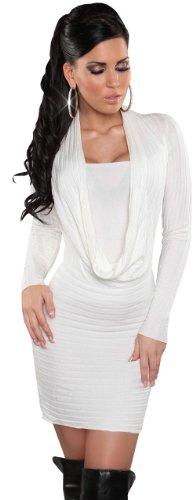 Koucla - Robe - Crayon - Uni - Manches longues - Femme Blanc - Blanc