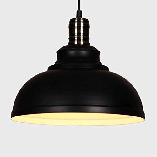 lustre GAODUZI Creative Rétro Industriel Vent Simple Table De Fer Ronde Simple Allée Bar Porche Simple Et Créatif Noir Et Blanc E27 (Couleur : Noir)