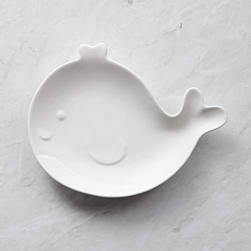 ns Geschirr Teller Keramik westlichen Frühstück Teller einfarbig Cartoon Kinder Geschirr 17,8x17,5 cm weiß ()