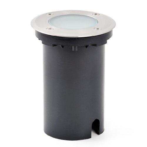Konstsmide 7605-000 Led Bodeneinbaustrahler rund/B: 11cm T: 11cm H: 22cm/15 weiße LED/IP65/Edelstahl/satiniertes Glas