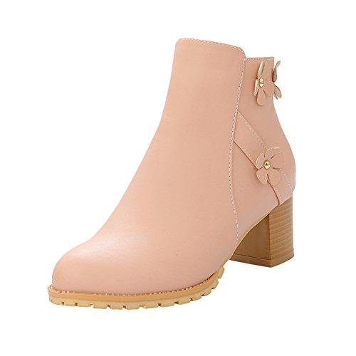 Mee Shoes Damen süß chunky heel Reißverschluss Knöchelstiefel Pink