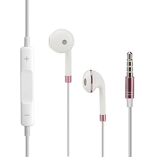 VAPIAO Original iOS und Android In-Ear Kopfhörer Earpods 2018 mit Lautstärkeregelung in Rosé und toller schwarzer Nylon - Dj-mp3-player