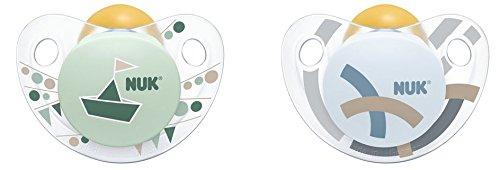 Preisvergleich Produktbild NUK 10171097 Trendline Latex-Schnuller, kiefergerechte Form, 0-6 Monate, 2 Stück, Boy, blau