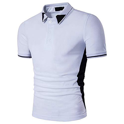 NiTuoZe Sommer Herren Bluse Fashion Euro-American Style Schwarz Weiß zweifarbig Patchwork Revers Kurzarm Casual T-Shirt Gr. XL, weiß