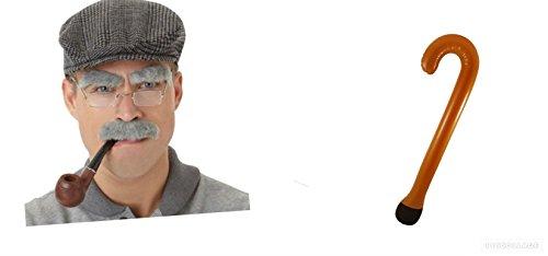 Set Gehstock Schnurrbart Seite Verbrennungen und Rohr mit Gläser. Ein toller Artikel für Ihr Murder Mystery Nacht Oder Hirsch Party. ()