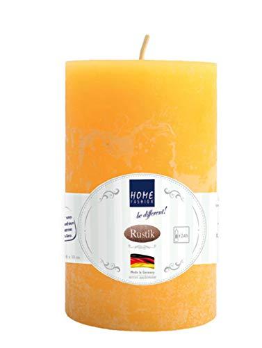 HomeF Kerze Stumpenkerze mehrere Farben zur Auswahl 6x10cm oder 7x12cm (Kerze Rustik gelb 7x12cm)