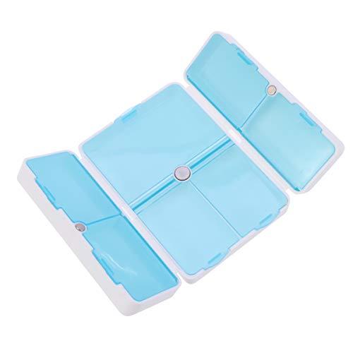 Healifty Wöchentliche Medikamentendosierer Faltbar Vitamin Box Kunststoff Pillendose targbar Tablettendose für 7 Tage Gebrauch (Weiß)
