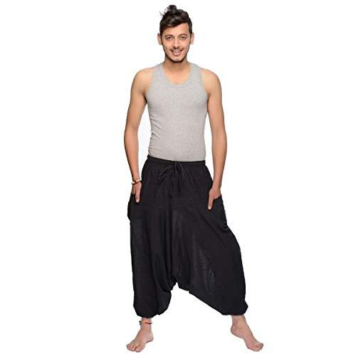 Für Lampe Bein Eine Kostüm - Haremshose Pumphose Aladinhose Pluderhose Yoga Goa Sarouel Baggy Freizeithose Singharaja Herren Farbe Schwarz, Größe One Size
