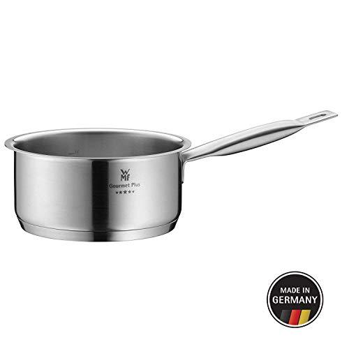 WMF Gourmet Plus Stielkasserolle ohne Deckel 16 cm, Kochtopf 1,4l, Cromargan Edelstahl mattiert, Innenskalierung, Dampföffnung, induktionsgeeignet