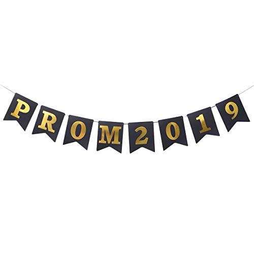 Amosfun Prom 2019 Papier Sackleinen Banner Graduation Season Bunting Pull Flag Decor Abschlussfeier Lieferungen (schwarz + golden)