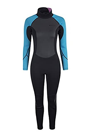 Mountain Warehouse Womens Full Wetsuit in Neoprene Fabric with Flat Seams, Key Pocket, Adjustable Neck Closure & Easy Glide Zip - Perfect for Surfing, Swimming & Kayaking Blue Small